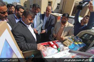 اقلام امداد و نجات و تجهیزات سالنهای مدیریت بحران سطح خوزستان توزیع شد